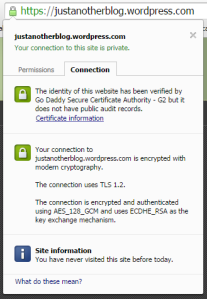 Google Chrome info about ok certificate