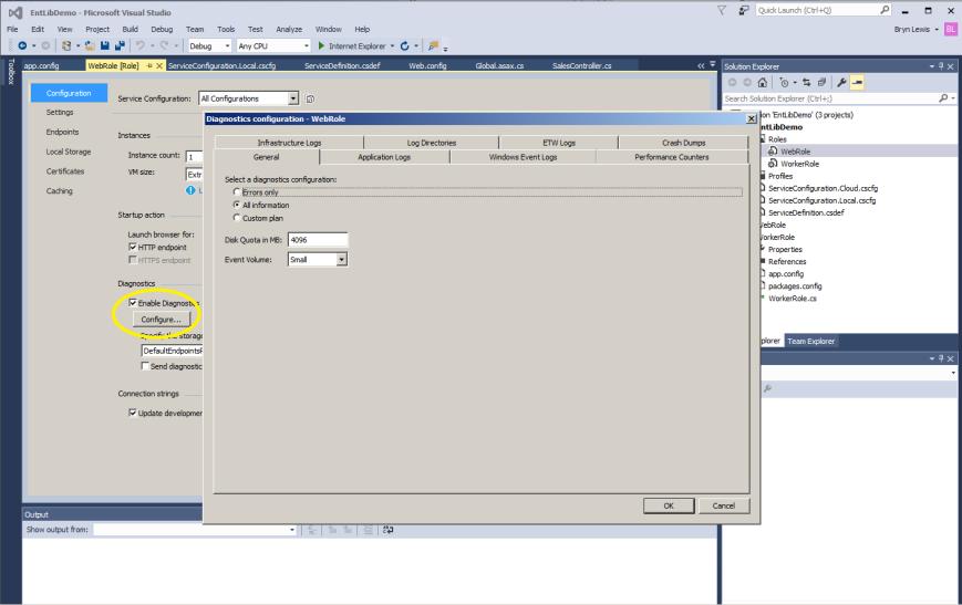 Azure Diagnostics configuration dialog