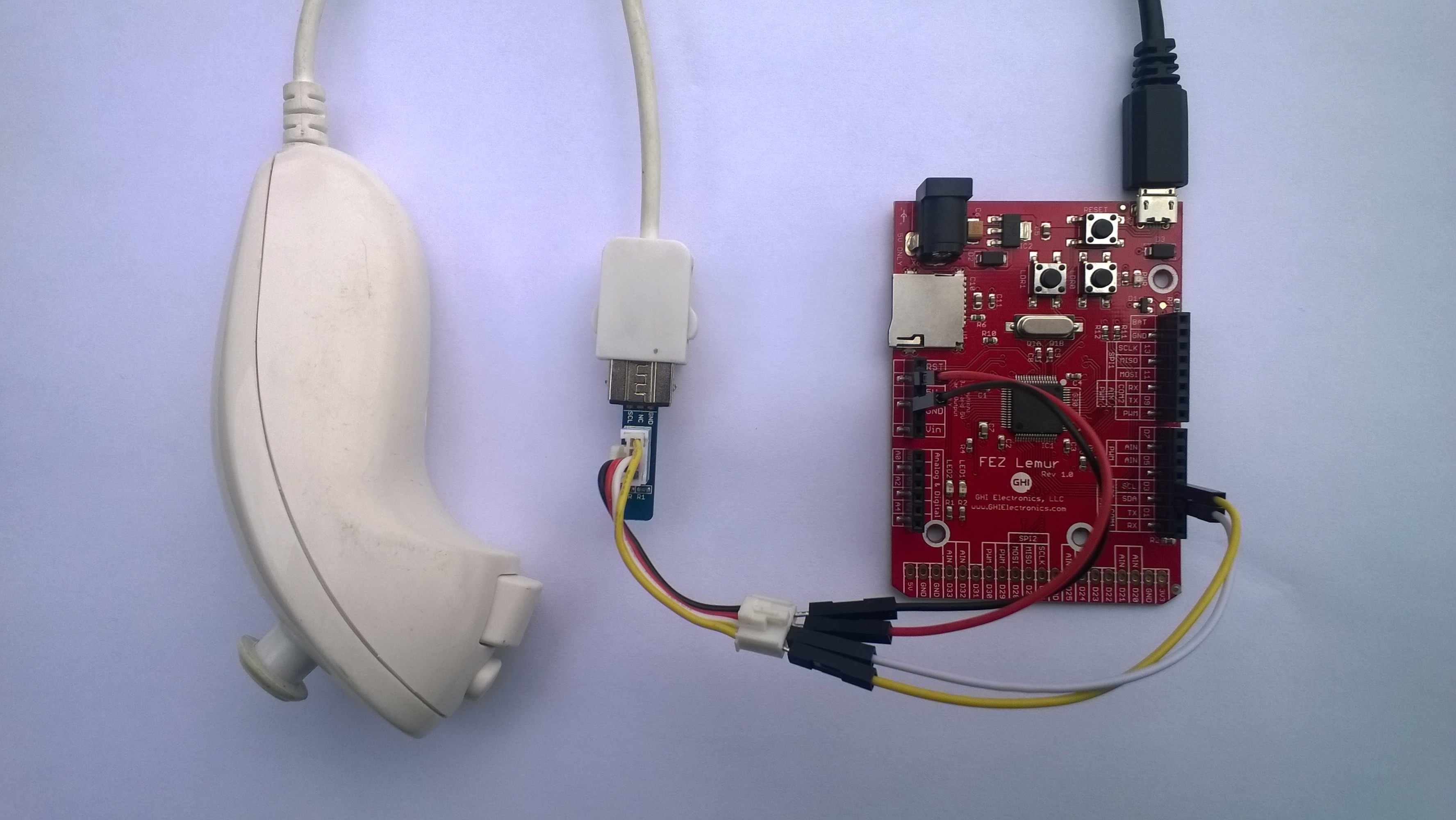 FEZ Lemur and Nunchuck connected with jumper wires and seeedstudio adaptor