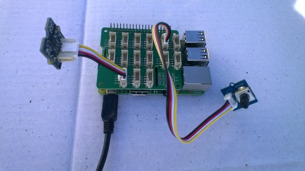 Raspberry PI with Grove Base Hat & ADXL345 & Rotary angle sensor